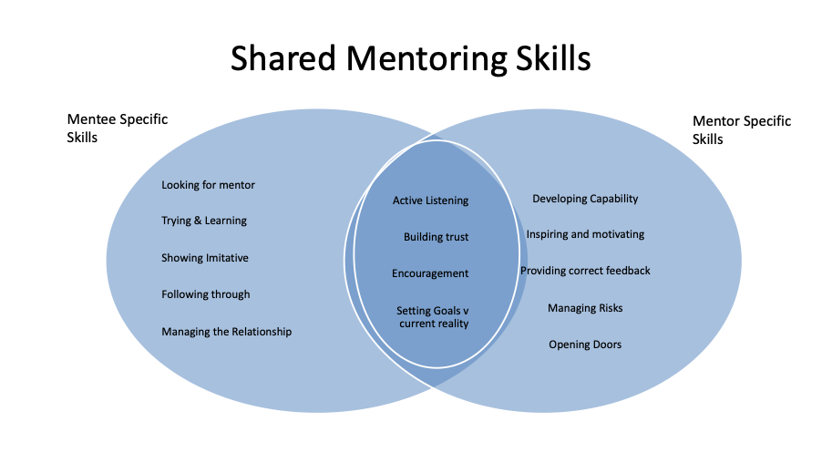 Shared Mentoring Skills Matrix Shows the relationships between mentee and mentor in skills development between the two.